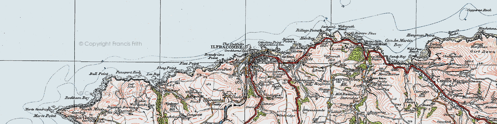 Old map of Ilfracombe in 1919