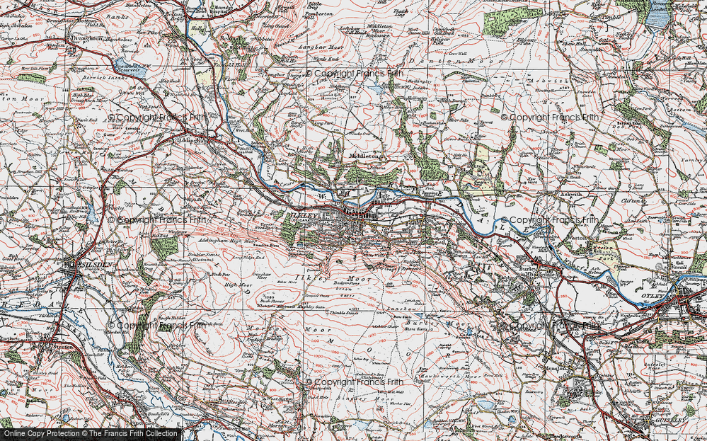 Old Map of Historic Map covering White Wells in 1925