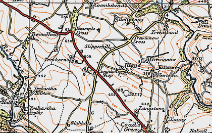 Old map of Illand in 1919