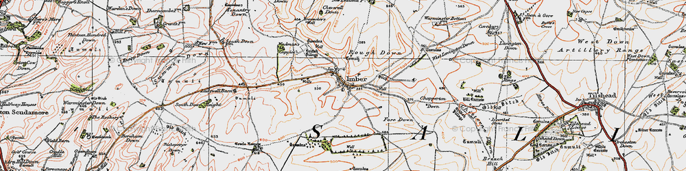 Old map of Imber in 1919