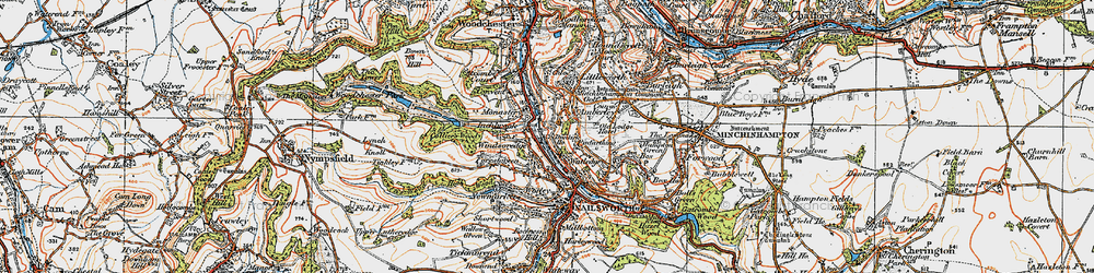 Old map of Inchbrook in 1919