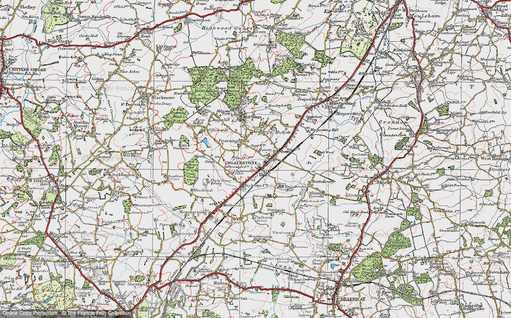 Old Map of Ingatestone, 1920 in 1920