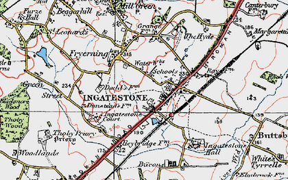 Old map of Ingatestone in 1920