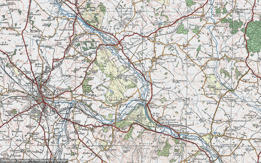 Old Map of Historic Map covering Lion Lodges in 1921