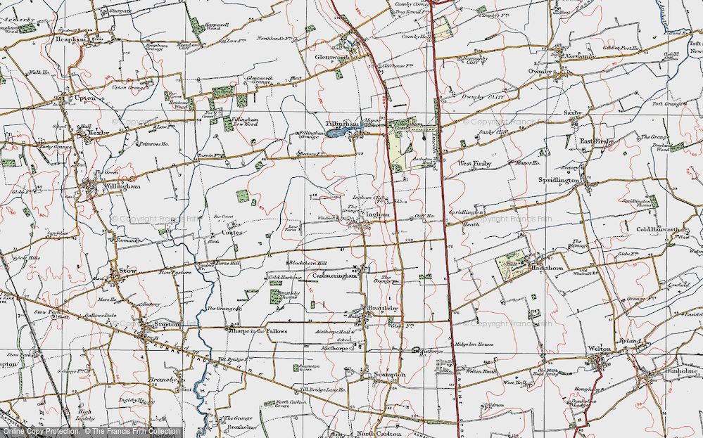 Old Map of Historic Map covering Lincolnshire Rescue Kennels in 1923