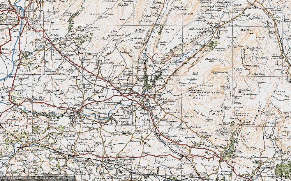 Old Map of Historic Map covering Lead Mine Moss in 1924