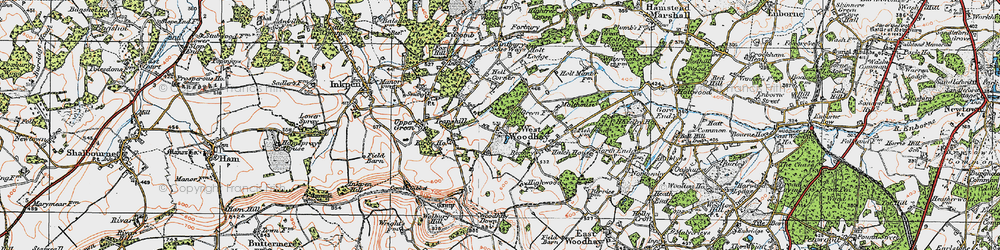 Old map of West Woodhay Ho in 1919