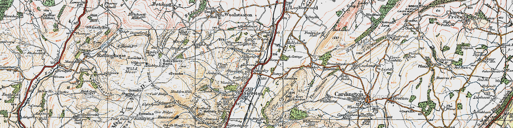 Old map of Worsley in 1921