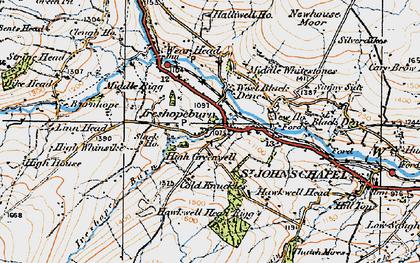 Old map of Ireshopeburn in 1925