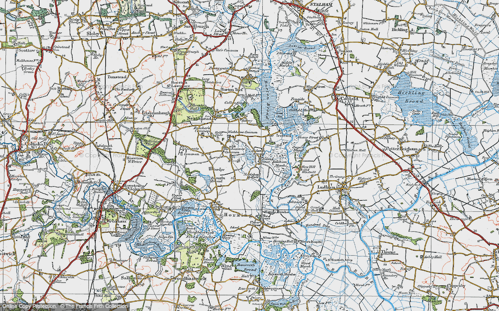 Old Map of Historic Map covering Alderfen Broad in 1922