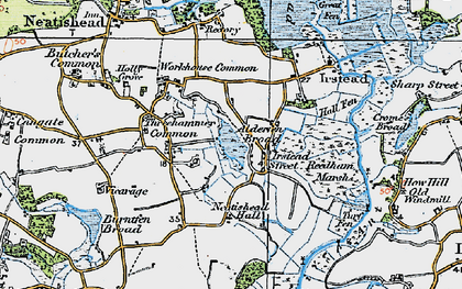 Old map of Alderfen Broad in 1922