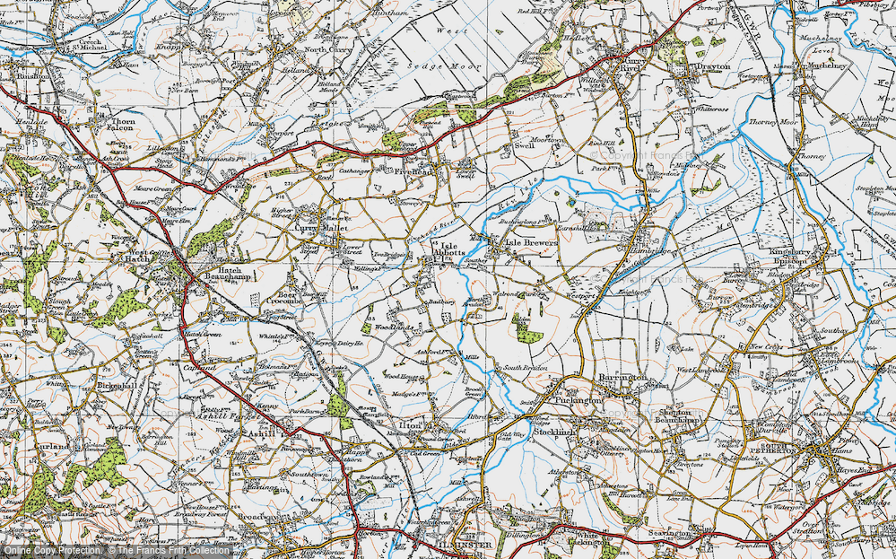 Old Map of Historic Map covering Badbury in 1919