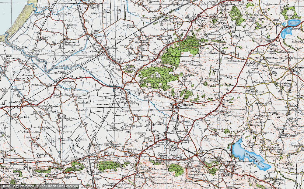 Old Map of Historic Map covering Ball Wood in 1919