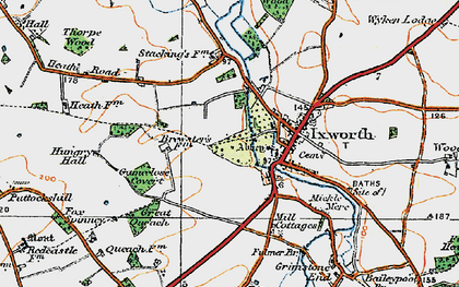 Old map of Ixworth in 1920