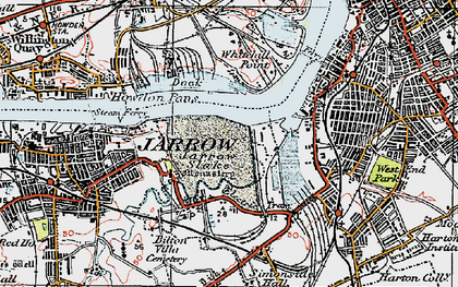 Old map of Jarrow in 1925