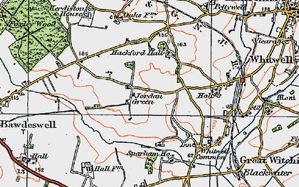Old map of Whitwell Hall in 1921
