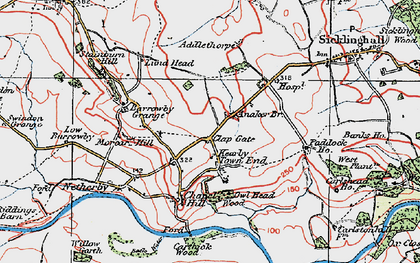 Old map of Addlethorpe Grange in 1925