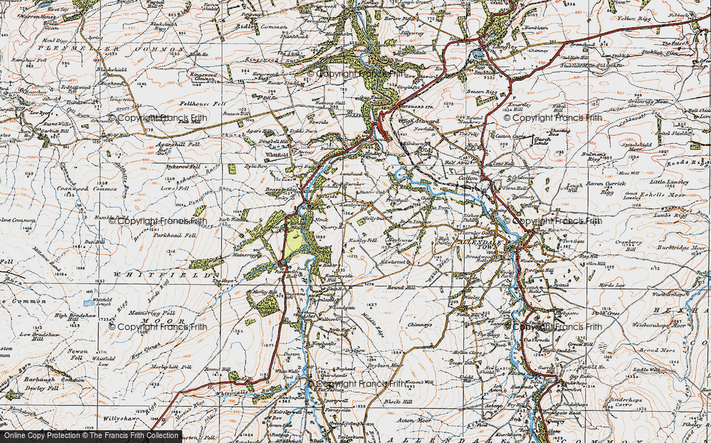 Old Map of Historic Map covering Lanehead in 1925
