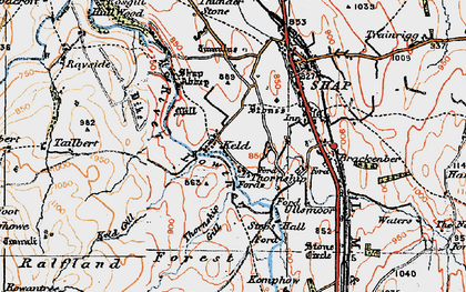 Old map of Wet Sleddale Reservoir in 1925
