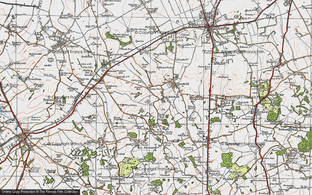 Old Map of Historic Map covering Woodcotes in 1920