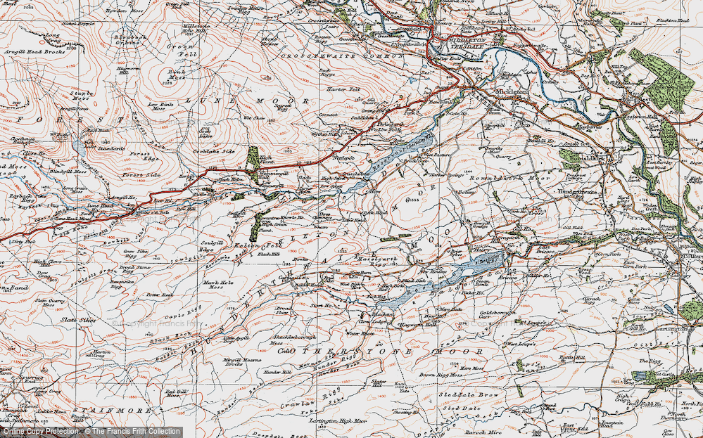 Old Map of Historic Map covering Balder Head in 1925