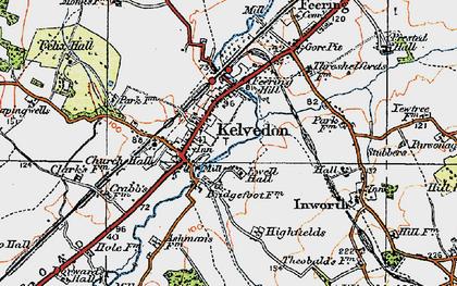 Old map of Kelvedon in 1921