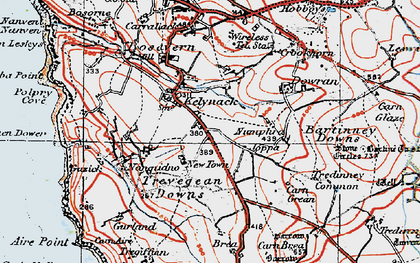 Old map of Kelynack in 1919