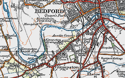 Old map of Kempston in 1919