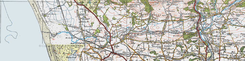 Old map of Kenfig Hill in 1922