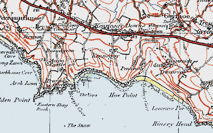 Old map of Kenneggy in 1919