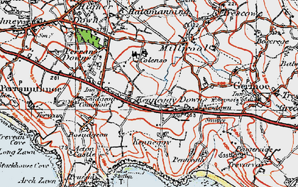 Old map of Kenneggy Downs in 1919