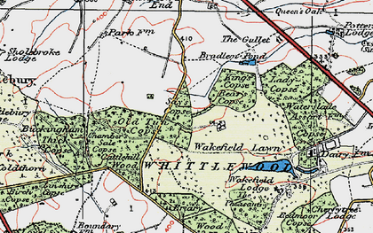 Old map of Whittlewood Forest in 1919
