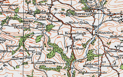 Old map of Kennerleigh in 1919