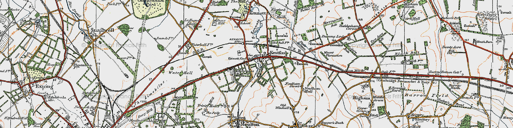 Old map of Lanwades Park in 1920
