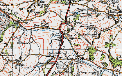 Old map of Kennford in 1919
