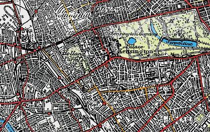 Old map of Kensington in 1920