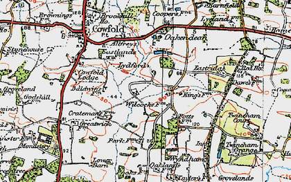 Old map of Allfreys in 1920