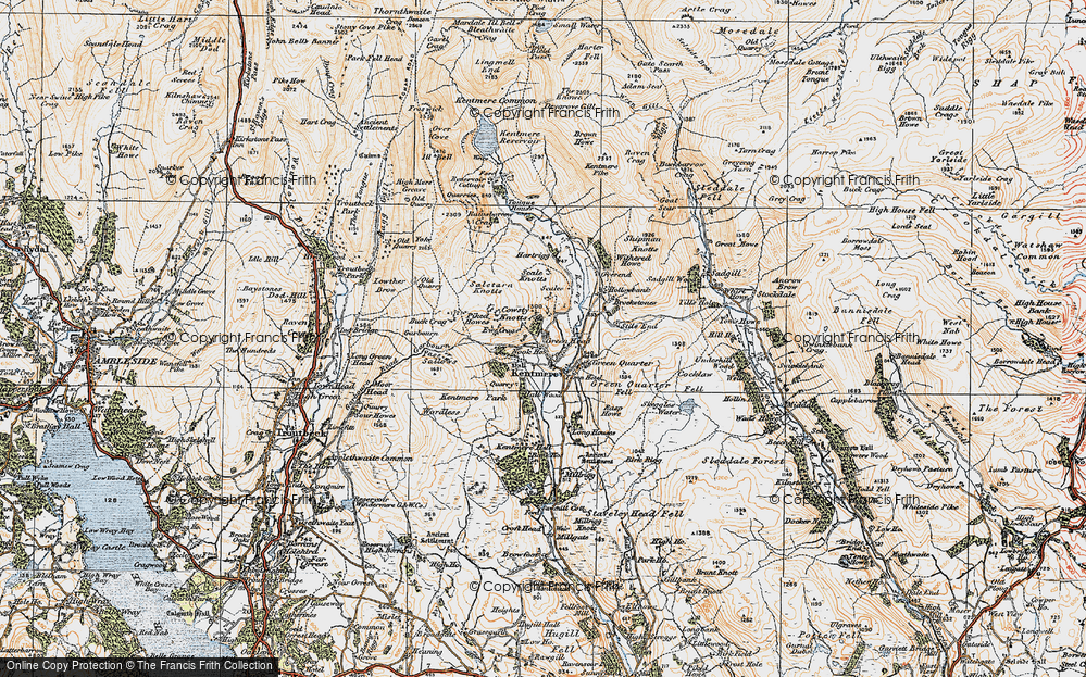 Old Map of Historic Map covering Tongue Ho (ruin) in 1925