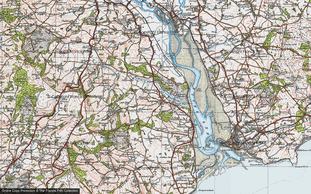 Old Map of Historic Map covering Mamhead Ho in 1919