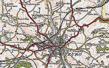 Old map of Kenwyn in 1919