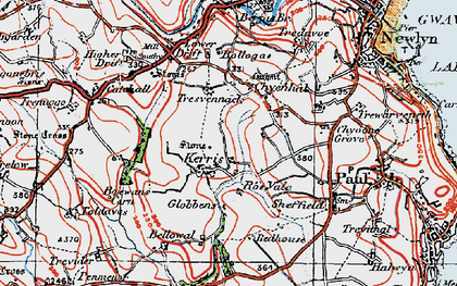 Old map of Kerris in 1919