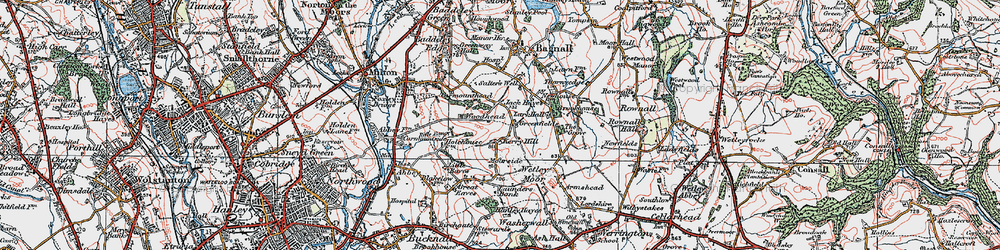 Old map of Wetley Moor in 1921