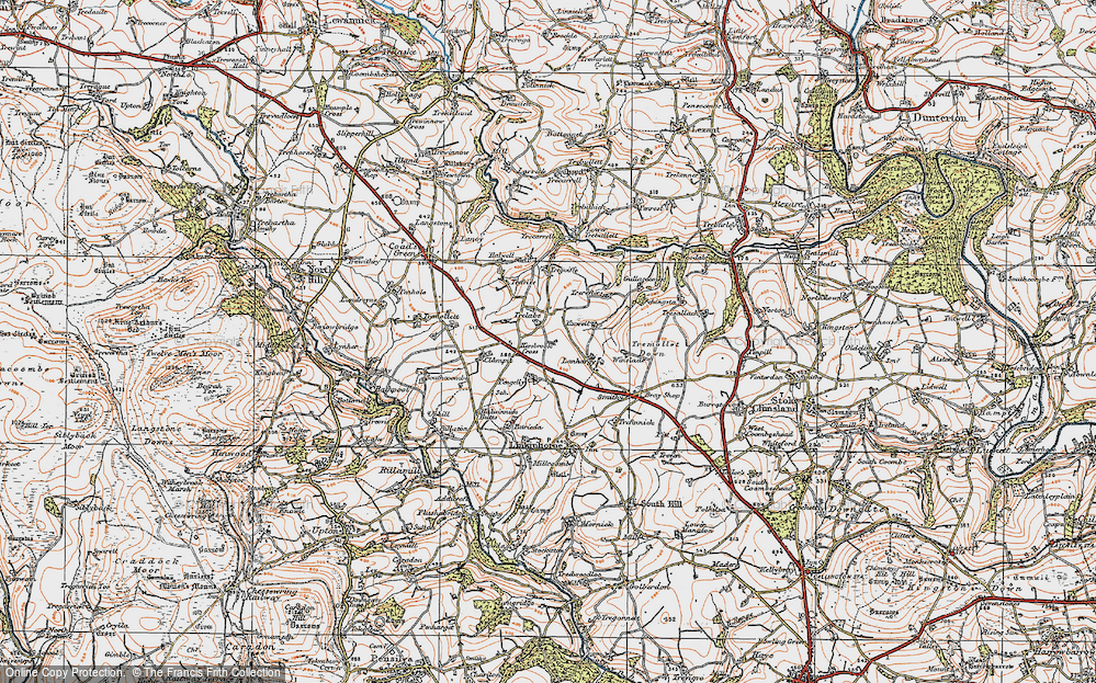 Old Map of Historic Map covering Lanhargy in 1919