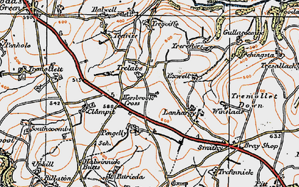 Old map of Kersbrook Cross in 1919