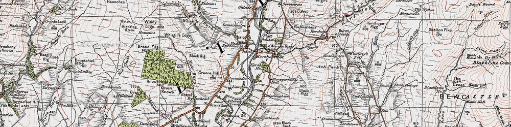 Old map of Tinnis Burn in 1925