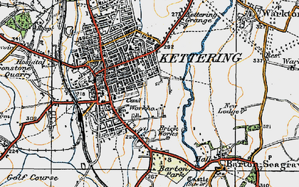 Old map of Kettering in 1920