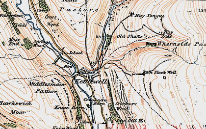 Old map of Langcliffe in 1925