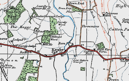 Old map of Kexby in 1924