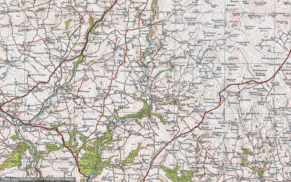 Old Map of Historic Map covering Lavethan in 1919