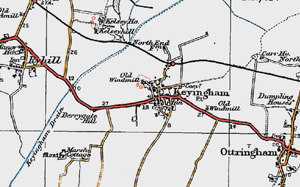 Old map of Keyingham in 1924